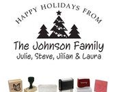 Personalized Custom Signature Stamp - Christmas Tree Family - PS-269