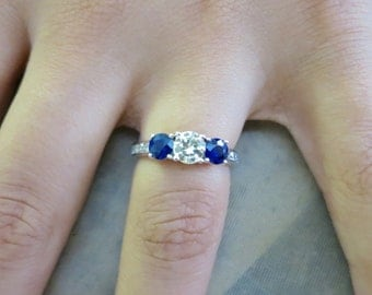 14K White gold Diamond and sapphire engagement ring.