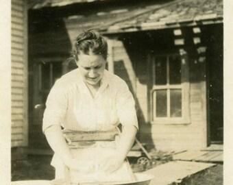 "Vintage Photo ""Life Before Convenience"" Woman Washing Snapshot Photo Antique Photo Black & White Photograph Found Photo Paper Ephemera - 185"