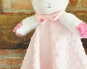 Adorable Lamb Lovey Blanket Butter Soft Minky and it is  Washable too.Ready To Ship