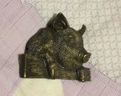 Brass Pig Belt Buckle. 1981 Bergamot. Solid Good Condition. Hog Swine Piggy Buckle.