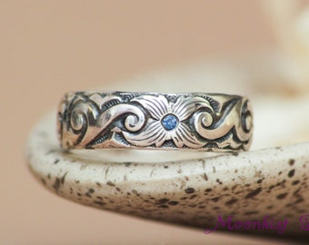 Scroll and Starburst Flower Wedding Band with Inset Blue Sapphires in Sterling - Silver Scroll Pattern Band Promise or Bridal Ring