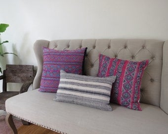Vintage Hmong Hemp cushion cover, Handwoven Hemp Fabric,Scatter cushions