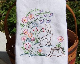 Embroidered Tea Towel/ Kitchen Dish Towel Woodland Rabbit