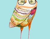 Long Legs Owl. Nursery art baby nursery decor nursery print Kids art illustration print.