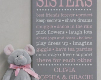 Sister Decor, Sister Wall Art Sign - Girls Bedroom Decor - Sister Sayings - PERSONALIZED Sign with Sisters Names - Sister Inspirational Gift