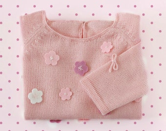 Knitted toddler sweater with little felt flowers. Pink. 100%  merino wool. READY TO SHIP size 4 years.