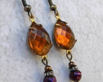 Topaz Earrings, Crystal Honey Earrings, NOvember Birthstone,  Honey Topaz Earrings, Amber Topaz Earrings