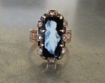 Victorian Cameo Diamond Ring - Unique Engagement Ring - Antique Onyx Diamond Ring-Antique Victorian Cameo Ring - Black Diamond Ring