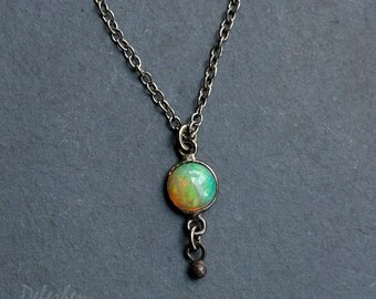 Tiny Opal Necklace - Opal Pandent - October Birthstone - Black Oxidized - Cabochon Stone - Small Opal Solitaire