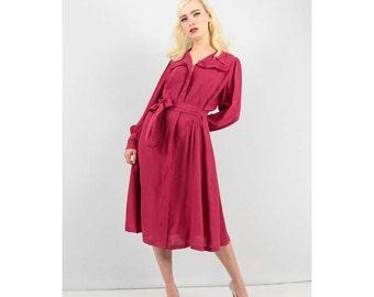 1940s dress / True Vintage Raspberry rayon zip front dress / 40s dress  L