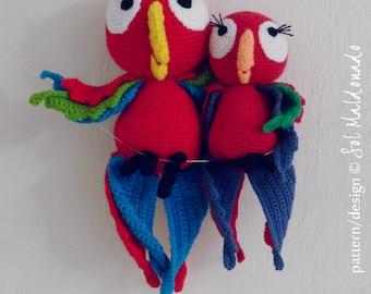 Parrot Crochet Pattern PDF - red parrot amigurumi Toy crochet pattern - Instant DOWNLOAD