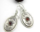 Garnet earrings in sterling silver, Long dangle earrings, garnet stone, antique style, garnet jewelry rustic handmade earrings