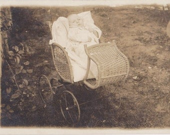 Baby in a Buggy- 1900s Antique Photograph- Wicker Carriage- Edwardian Child- Found Photo- Real Photo Postcard- Paper Ephemera