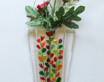 Fused Glass Flower Vase, Fused Glass Wall Hanging Vase, Blooming Branches in Reds, Mothers Day Glass Wall Vase, Mother's Day Red Flowers