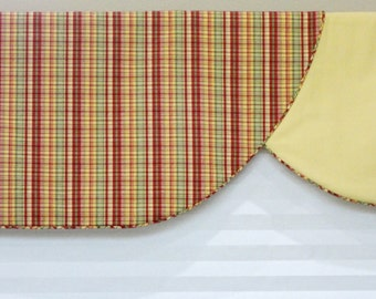 Window Curtain Valance / Swag Design / Red Green Yellow / Rod Pocket / READY TO SHIP