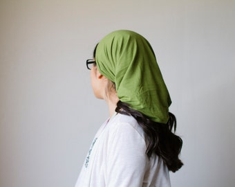 Green Moss Long Stretch Knit Headcovering | Women's Headcovering Veils