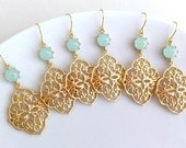 10% OFF SET of 3 Wedding Jewelry Bridesmaid Jewelry Bridesmaid Earrings Bridal Earrings Mint Earrings.Mint Green Seafoam Gold Earrings Gift