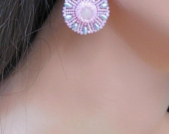 Pink and Gray Earrings -Round Flower Earring - Pink Quartz and Seed Bead - Short Drop Style - Silver and Pink Disk Earrings