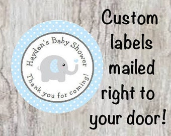 Baby Shower Personalized Blue & Gray (Grey) Elephant Round Party Favor Stickers - Elephant Polka Dot Stickers  **Discounts Available