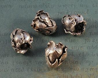 Antique Silver Flower Cone Caps - 13x11mm - Delicate Petal Design - FOUR PIECES