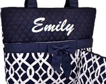 Navy White Vine Personalized Diaper Bag Quilted Set
