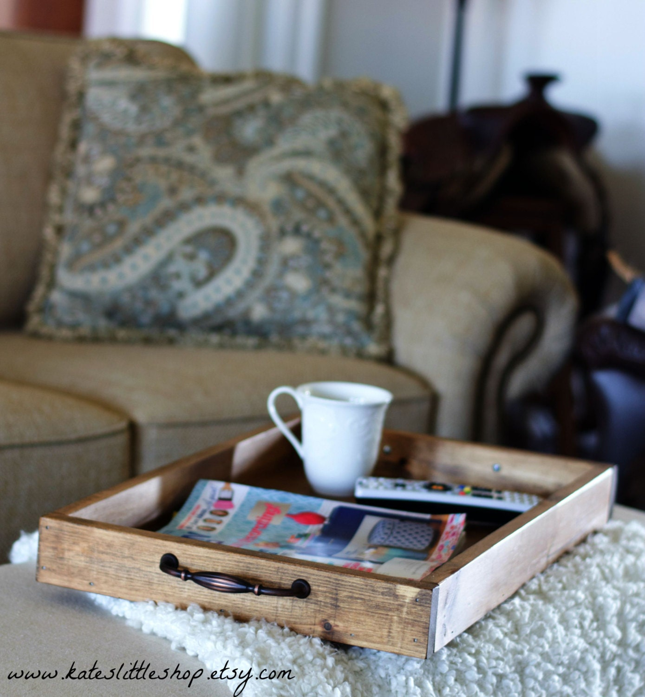 Rustic Handmade Serving Tray. Ottoman Tray. Coffee Table