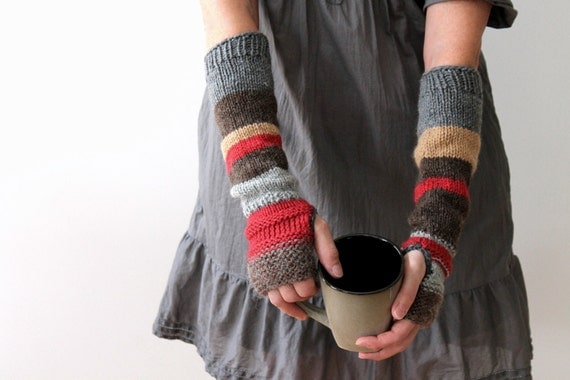 Hand knit urban rustic fingerless mitts / autumn color / earthy brown / apple red / rustic gray / arm cozy / mix and match arm warmers