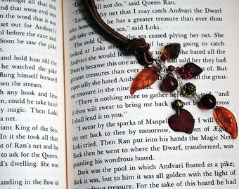 Fall Leaf Book Thong Beaded Leather Bookmark Autumn Leaves Brown Colors
