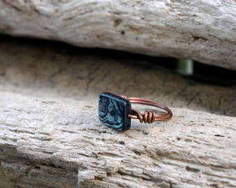 Copper Wire Wrapped Abalone Ring, Abalone Jewelry, Abalone Shell Ring Size 6