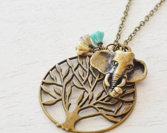 elephant necklace,tree ofe life necklace,lucky symbol,lucky buddha necklace,yoga jewelry,elephant jewelry,stocking stuffer,friend,spiritual