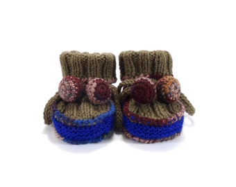 Knitted Baby Booties - Brown and Blue, 0 - 3 months