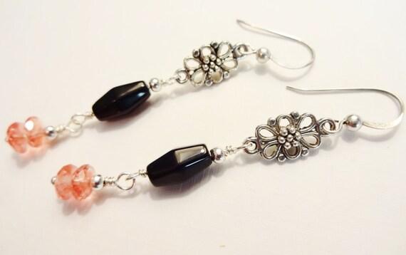Black Onyx, Cherry Quartz and Silver Filigree Earrings