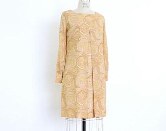 60s Mod Mini Dress, Paisley Print Boho Hippie Go Go Babydoll Dress, Pleated Empire Waist Long Sleeve Neutral Mustard Yellow Gold Micro Mini