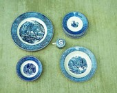 Vintage Ceramic Royal China Jeannette Corporation Blue and White Currier and Ives Accessories Dinnerware 14 Misc. Pieces