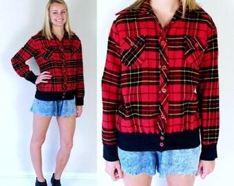 vintage 70s RED PLAID soft FLANNEL Shirt preppy Medium-Large grunge top jacket womens hipster oversized