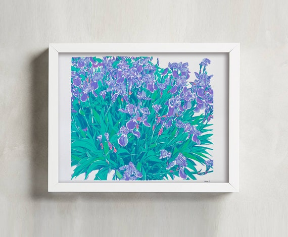 handmade screen print painting iris flowers bed by komarovart. Black Bedroom Furniture Sets. Home Design Ideas