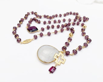 Amethyst Beaded Necklace with Gold Vermeil Medallions and Amethyst Gemstone Connectors, Moonstone Pendant, Maltese Cross Pendant