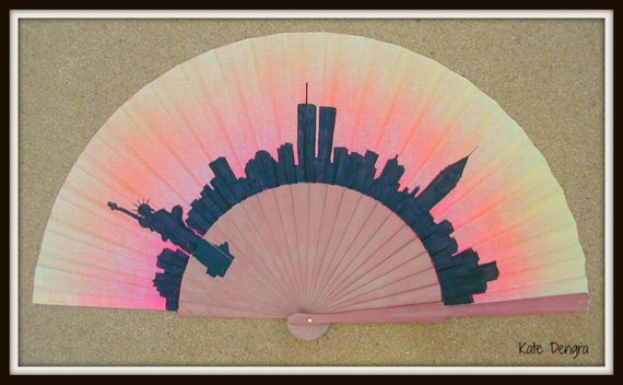 NEW YORK Skyline Hand Fan Flamenco Folding Fan from Spain MTO Made to order with any Skyline