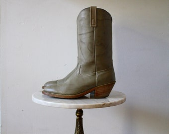 Grey Cowboy Boots - 10 Women's - Leather and Faux Taupe - 1970s Vintage