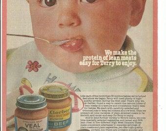 1981 Advertisement Gerber Baby Foods Lean Meats Protein Cute Babys 80s Terry Kitchen Nursery Wall Art Decor