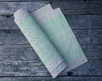 Linen Table Runner - Four Feathers in Mint