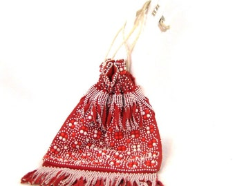 50s 60s Fabric Beaded Purse Fringed Boho Bag 1950s 1960s Red White Purse Hippie Bag Draw String Bag Fringed Bag Red White Bead Purse