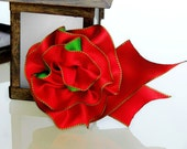 Holiday Ribbon Corsage Pin, Red & Green Hair Accessory, Ribbon Hair Bow, Gift wrap ribbon bow, Handmade Accessory Bow, Christmas Ribbon Bow