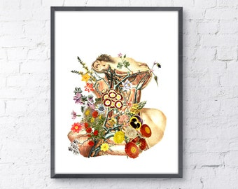 winter sale 10 off anatomical art print white paper print colored flowery neck doctors gift medicine student gift wsk170 anatomy eat kitchen