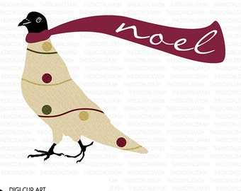 Noel Bird - Pigeon - Colored - Digital Clip Art - INSTANT DOWNLOAD - for Invites, Crafts, Collage, Journaling, Cards, Scrap Booking and More
