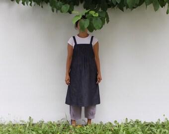 Jeans dress. Denim woman pinafore dress japanese style. Unwashed classic denim. Sizes S, M, L, XL.
