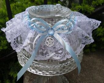 Frozen Wedding Garter, Bridal Garter, Elsa, Blue Garter, Handfasting, Pagan Wedding, Wiccan Wedding,Renaissance Wedding Silver Garter
