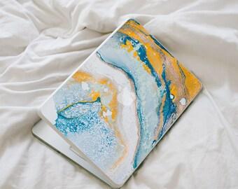 Agate Inspired MacBook Decal - Blue and Orange Vinyl Laptop Skin