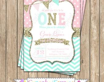 First Birthday Invitation coral pink mint gold  Birthday Party PRINTABLE  Invitation #1  chevron polka dot glitter 1st birthday One 1031